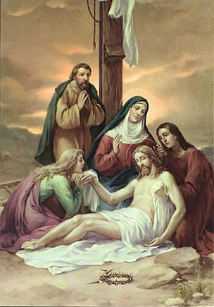 方,就在那里把耶稣钉在十字架上,同时也钉了两个凶犯,一个在